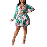 Green Print Shirt and Pleated Mini Skirt Set TQK710407-9