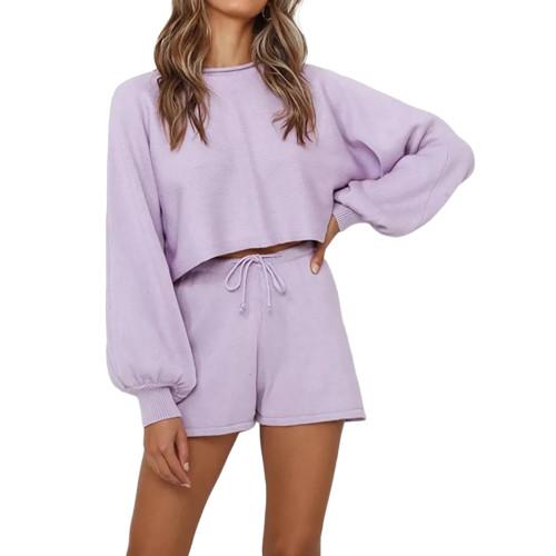 Light Purple Lantern Sleeve Sweater Set TQK710405-38