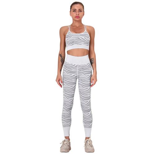 White Striped Print Yoga Bra with Pant Sports Set TQE91568-1