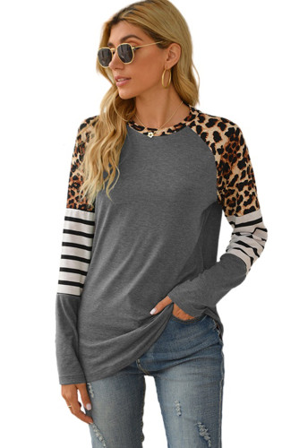 Gray Leopard Striped Long Sleeve Top LC25212752-11