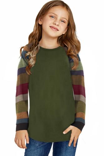 Green Striped Color Block Girl's Long Sleeve Top TZ25579-9