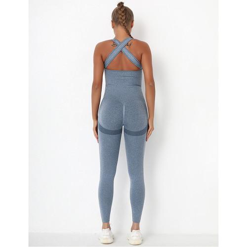 Blue Back-Criss Seamless Yoga One Piece Jumpsuit TQE91567-5