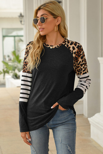 Black Leopard Striped Long Sleeve Top LC25212752-2