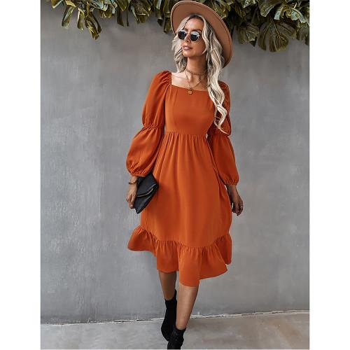 Orange Square Neck Ruffle Detail Long Sleeve Dress TQK310685-14