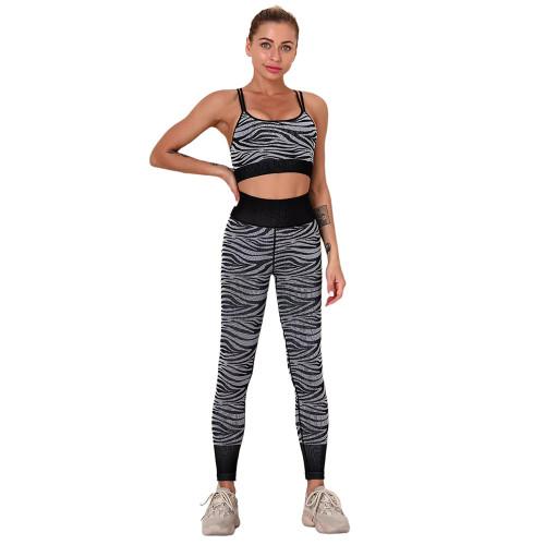 Black Striped Print Yoga Bra with Pant Sports Set TQE91568-2