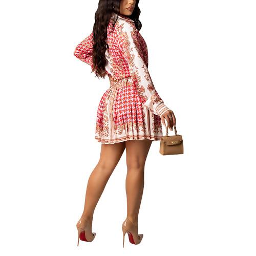 Red Print Shirt and Pleated Mini Skirt Set TQK710407-3