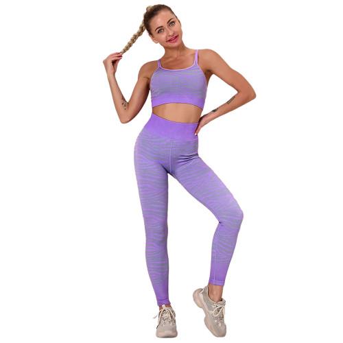 Purple Striped Print Yoga Bra with Pant Sports Set TQE91568-8