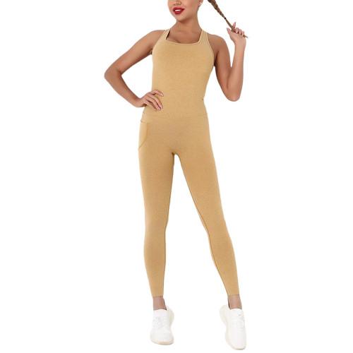 Yellow Back-Criss Seamless Yoga One Piece Jumpsuit TQE91567-7