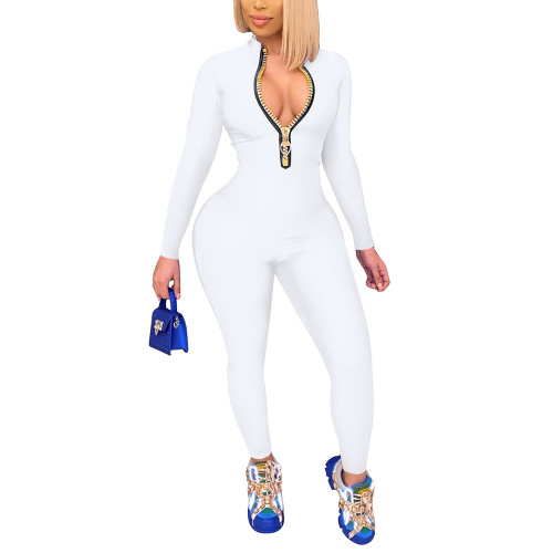 White Zipper Stand Collar Long Sleeve Jumpsuit TQK550265-1