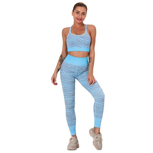 Lake Blue Striped Print Yoga Bra with Pant Sports Set TQE91568-110