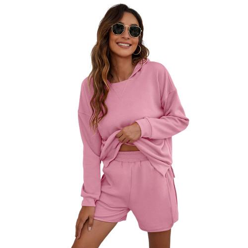 Pink Slit Hoodie and Shorts Lounge Set TQK710406-10