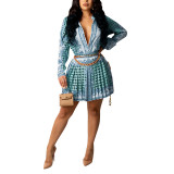Aquamarine Print Shirt and Pleated Mini Skirt Set TQK710407-45