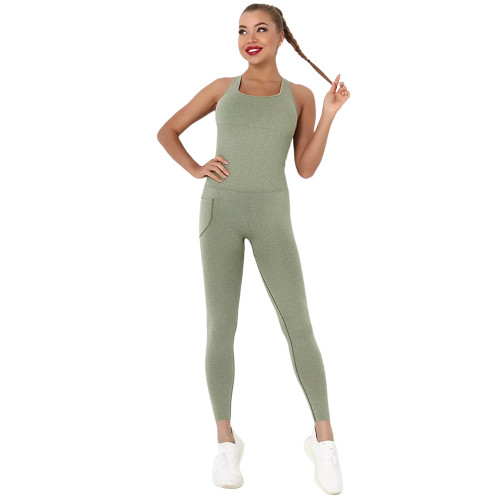 Army Green Back-Criss Seamless Yoga One Piece Jumpsuit TQE91567-27