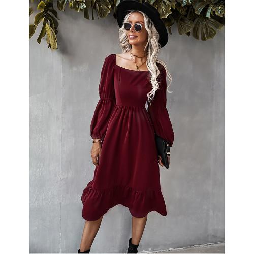 Wine Red Square Neck Ruffle Detail Long Sleeve Dress TQK310685-23