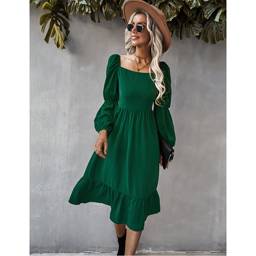 Green Square Neck Ruffle Detail Long Sleeve Dress TQK310685-9
