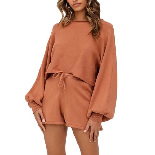 Orange Lantern Sleeve Sweater Set TQK710405-14