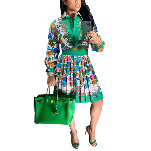 Grass Green Print Shirt and Pleated Mini Skirt Set TQK710407-61