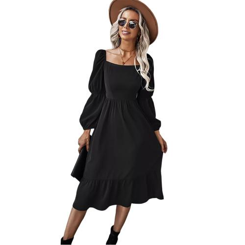 Black Square Neck Ruffle Detail Long Sleeve Dress TQK310685-2