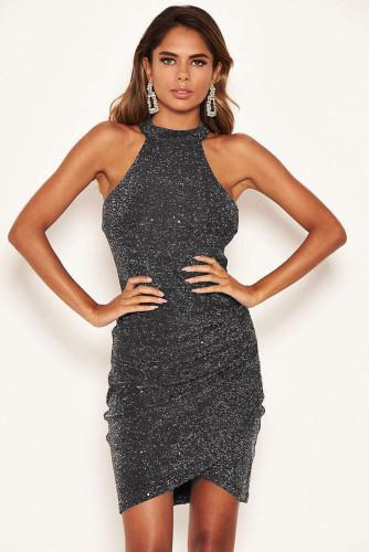 Cold Shoulder Metallic Halter Neck Bodycon Mini Dress LC229979-2