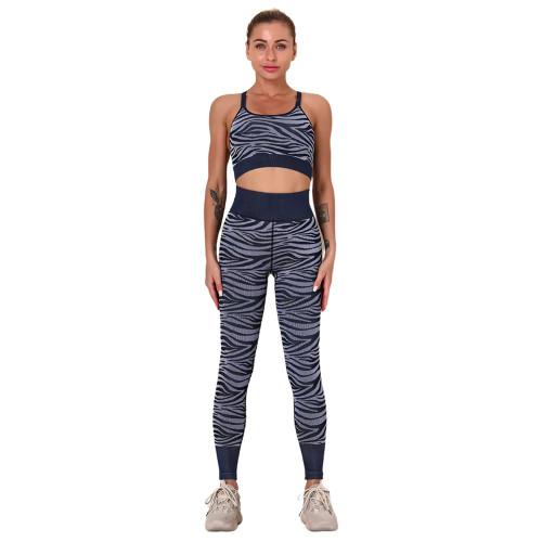 Dark Blue Striped Print Yoga Bra with Pant Sports Set TQE91568-77