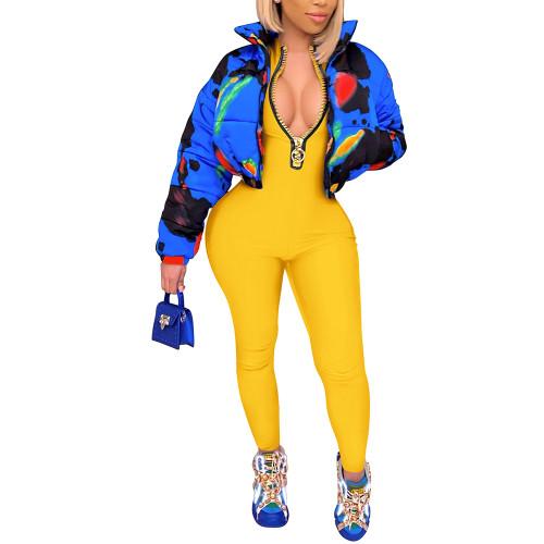 Yellow Zipper Stand Collar Long Sleeve Jumpsuit TQK550265-7