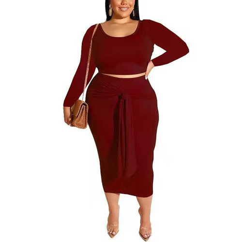 Wine Red Long Sleeve Crop Top and Tie Waist Skirt Plus Size Set TQK710408-23