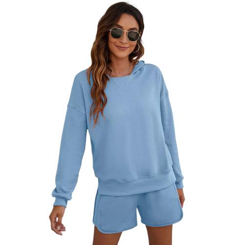 Light Blue Slit Hoodie and Shorts Lounge Set TQK710406-30