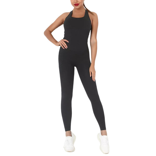 Black Back-Criss Seamless Yoga One Piece Jumpsuit TQE91567-2