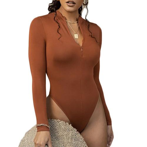 Brown Zipper-up High Neck Long Sleeve Bodysuit TQK550264-17