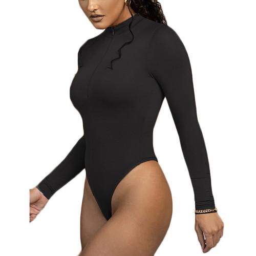 Black Zipper-up High Neck Long Sleeve Bodysuit TQK550264-2