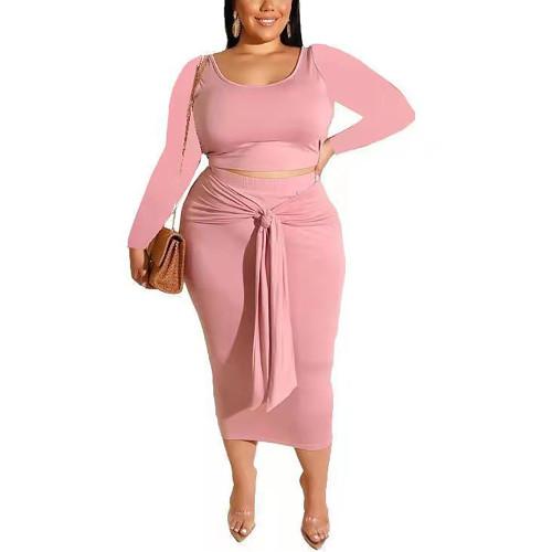 Pink Long Sleeve Crop Top and Tie Waist Skirt Plus Size Set TQK710408-10