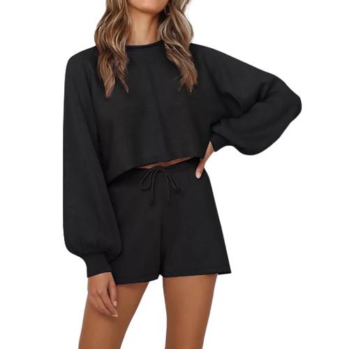 Black Lantern Sleeve Sweater Set TQK710405-2