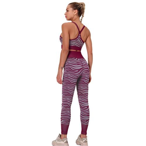 Wine Red Striped Print Yoga Bra with Pant Sports Set TQE91568-103