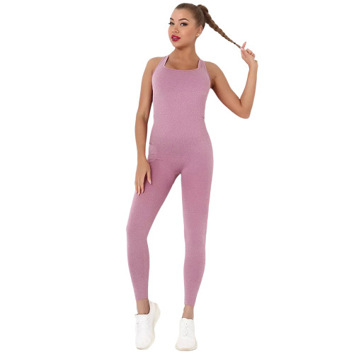 Wine Red Back-Criss Seamless Yoga One Piece Jumpsuit TQE91567-103
