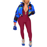 Wine Red Zipper Stand Collar Long Sleeve Jumpsuit TQK550265-23