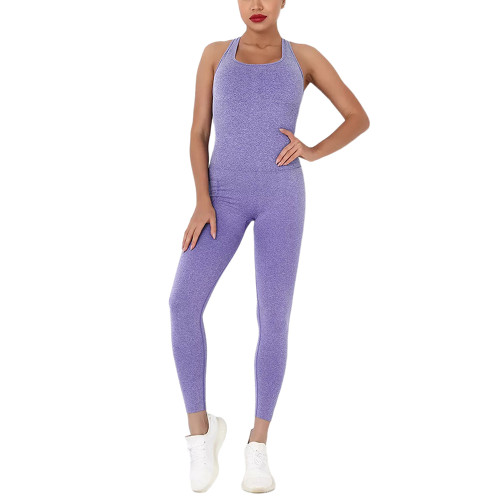 Purple Back-Criss Seamless Yoga One Piece Jumpsuit TQE91567-8