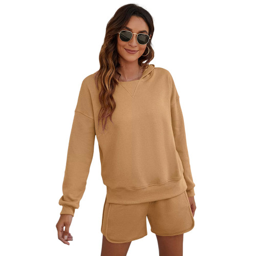 Khaki Slit Hoodie and Shorts Lounge Set TQK710406-21