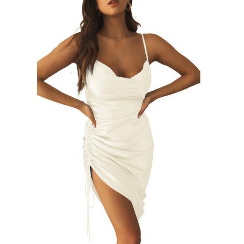 White Pleated Drawstring Bodycon Dress TQK310620-1