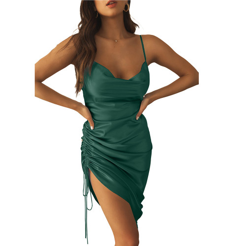 Green Pleated Drawstring Bodycon Dress TQK310620-9
