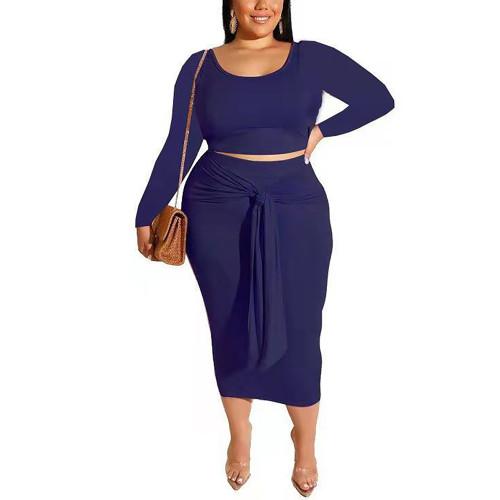 Navy Blue Long Sleeve Crop Top and Tie Waist Skirt Plus Size Set TQK710408-34