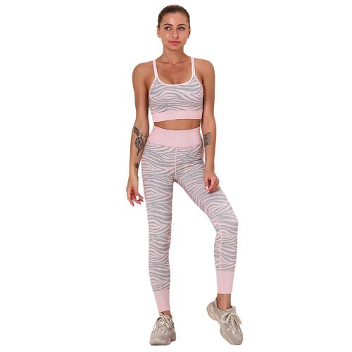 Light Pink Striped Print Yoga Bra with Pant Sports Set TQE91568-39