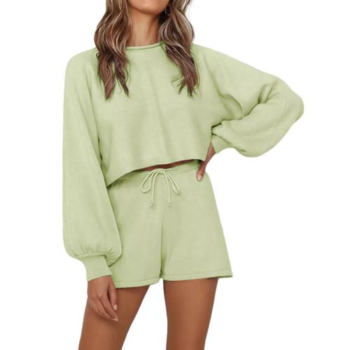 Light Green Lantern Sleeve Sweater Set TQK710405-28