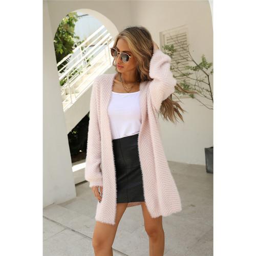 Light Pink Striped Print Warm Long Cardigan TQK271360-39