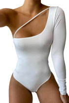 White Cut-out One Shoulder Bodysuit LC32867-1