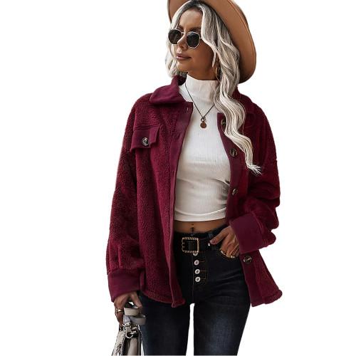 Wine Red Double Side Fleece Button Warm Jacket TQK280131-23