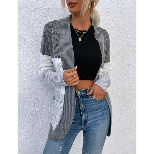 Gray Color Block Curve Cardigan with Pockets TQK271361-11
