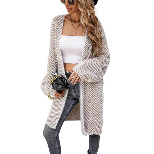 Khaki Striped Print Warm Long Cardigan TQK271360-21