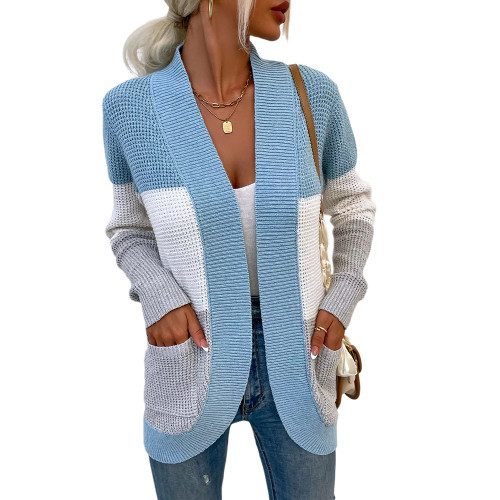 Light Blue Color Block Curve Cardigan with Pockets TQK271361-30