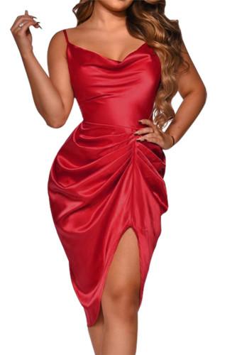 Red Spaghetti Straps Silk Like Ruched Mini Dress LC229903-3