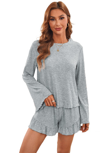 Bell Sleeve Top and Ruffle Shorts Lounge Suit LC4511330-11